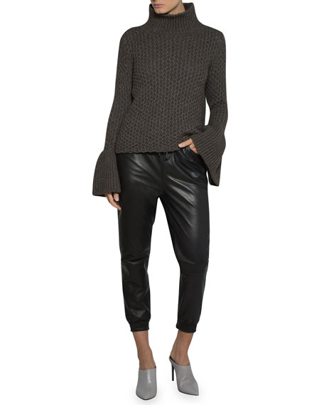Textured Knit Flare-Sleeve Turtleneck Sweater
