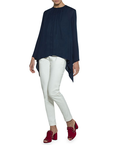Long-Sleeve Chiffon Trapeze Blouse and Matching Items