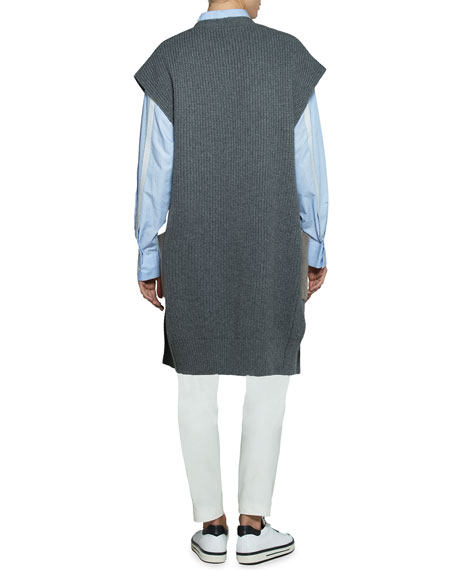 Open-Front Cardigan with Shearling Pockets