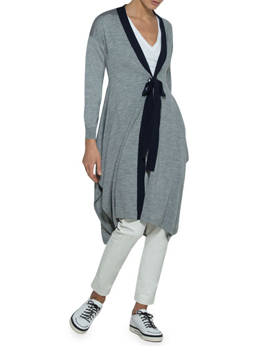 Merino Tie-Waist Silk Trapeze Cardigan  and Matching Items