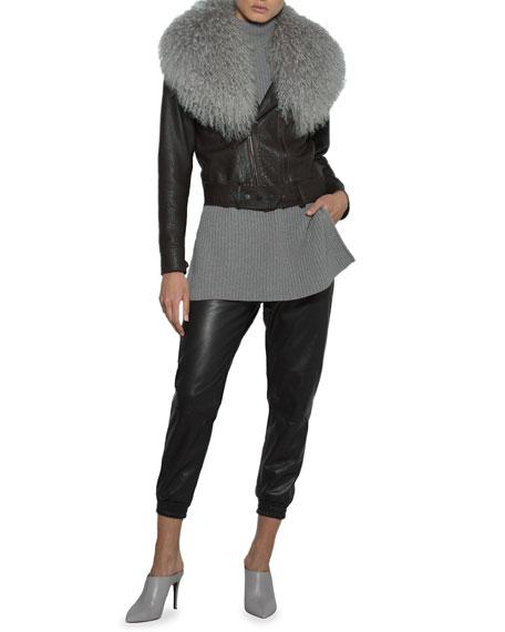 Leather Moto Jacket w/ Mongolian Lamb Fur Collar
