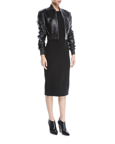 Zip-Front Plonge Leather Cropped Bomber Jacket  and Matching Items