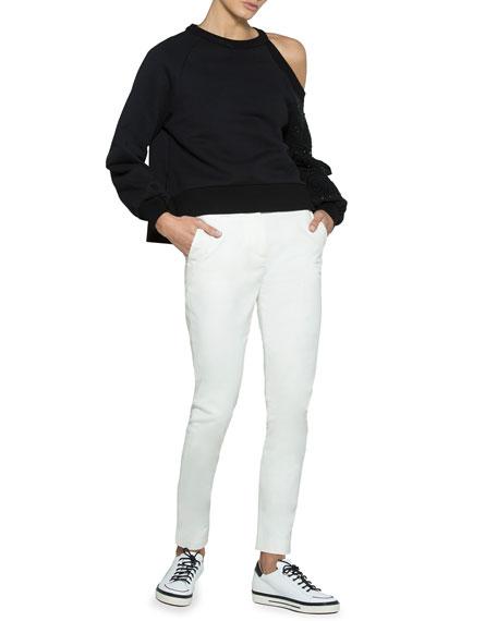 Floral-Embroidered Jersey Cold-Shoulder Pullover Top