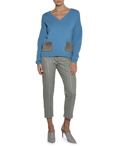 V-Neck Sweater with Shearling Fur Pockets and Matching Items