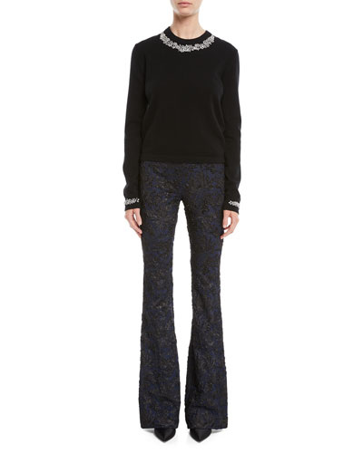 Crystal-Embellished Crewneck Cashmere-Blend Sweater and Matching Items