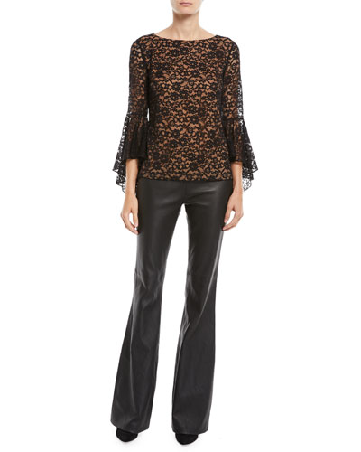Round-Neck Bell-Sleeve Floral-Lace Top and Matching Items