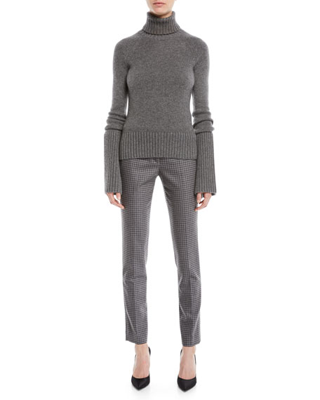 Turtleneck Bell-Sleeve Cashmere Pullover Sweater