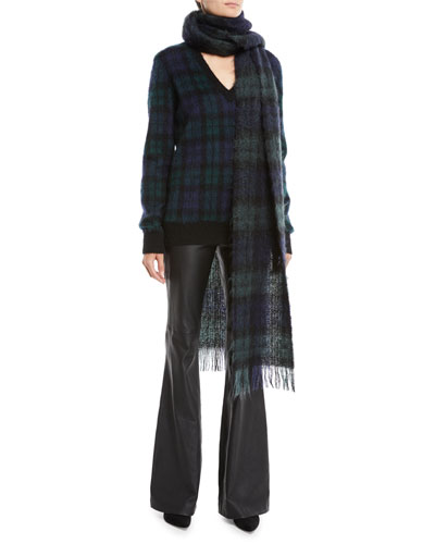 V-Neck Long-Sleeve Tartan Pullover Sweater w/ Calf Hair Patches and Matching Items