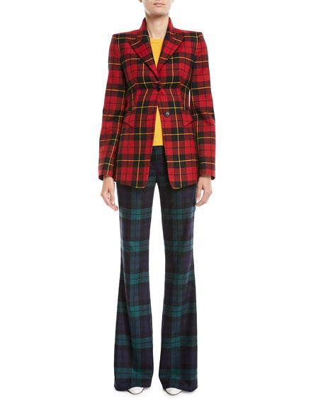 Two-Button Plaid Wool Blazer