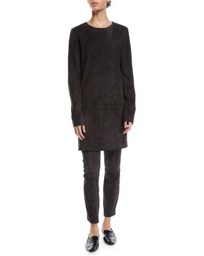 Rani Crewneck Long-Sleeve Short Suede Shift Dress and Matching Items