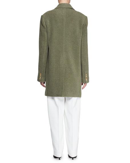Mewey Peak-Lapel Button-Front Wool-Blend Coat