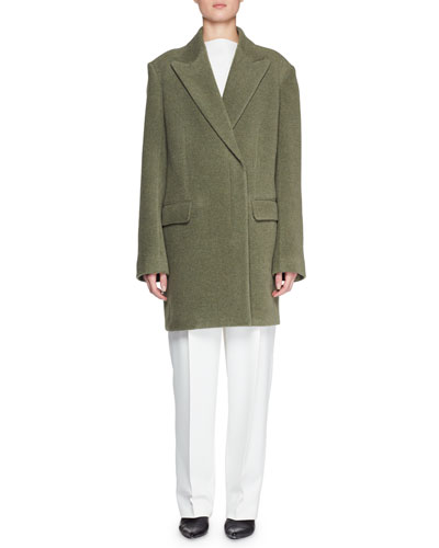 Mewey Peak-Lapel Button-Front Wool-Blend Coat and Matching Items