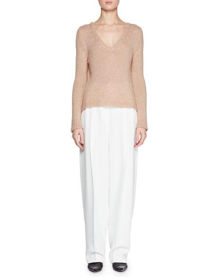 Aetra V-Neck Long-Sleeve Cashmere-Blend Top