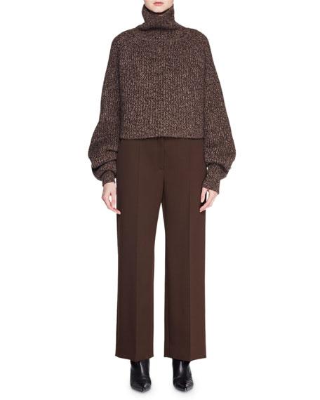 Dickie Turtleneck Long-Sleeve Melange Cashmere Pullover Sweater