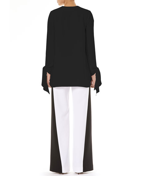 Keyhole-Front Long-Sleeve Tie-Cuffs Blouse