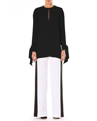 Keyhole-Front Long-Sleeve Tie-Cuffs Blouse and Matching Items