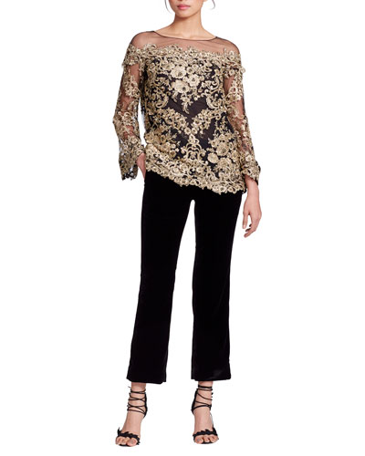 Long-Sleeve Metallic Corded-Lace Evening Blouse and Matching Items