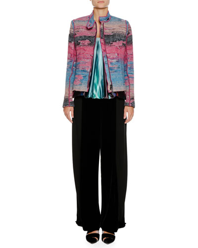 Multicolor Watercolor Zip-Front Wool-Blend Jacket and Matching Items