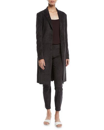 One-Button Lambskin Suede Long Coat and Matching Items