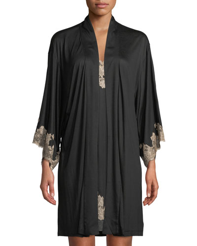 Charlize Lace-Trim Short Robe and Matching Items