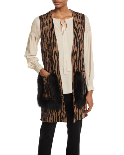 Ginette Animal-Print Sweater Vest with Fur Trim and Matching Items