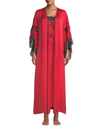 L'Amour Lace-Trim Long Robe and Matching Items