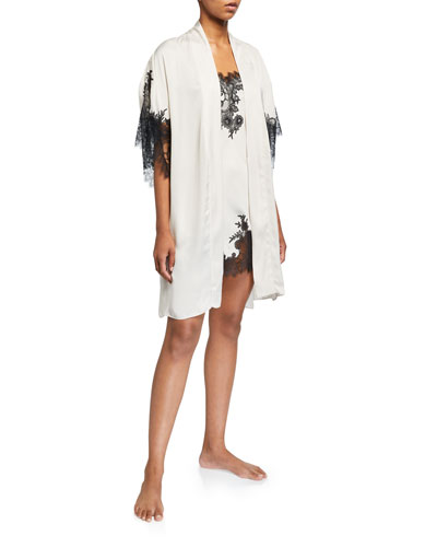 L'Amour Lace-Trim Short Robe and Matching Items