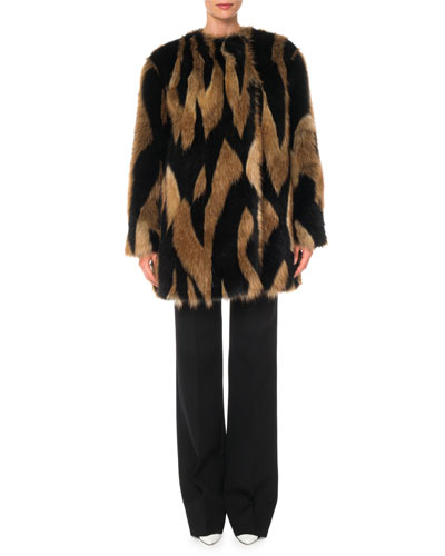 Intarsia Faux-Fur Quilted-Lining  Mid-Thigh Coat and Matching Items