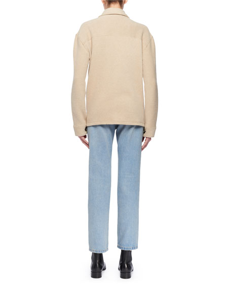 Zip-Front Long-Sleeve Wool-Blend Pullover Top w/ Patch Pockets