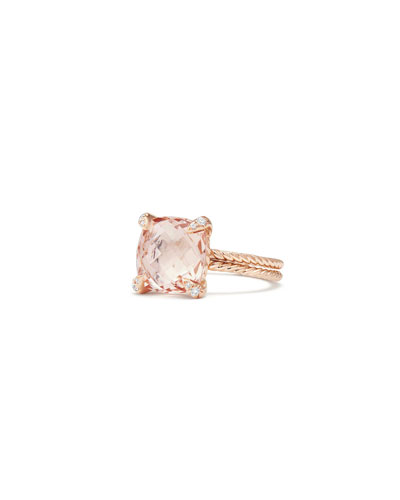 Châtelaine 11mm Rose Gold  Ring with Morganite & Diamonds, Size 6 and Matching Items