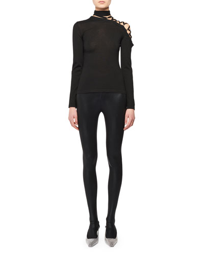 Eyelet-Shoulder Long-Sleeve Cashmere-Silk Knit Top and Matching Items