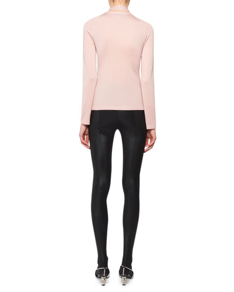 Lace-Up Long-Sleeve Cashmere-Silk Knit Top
