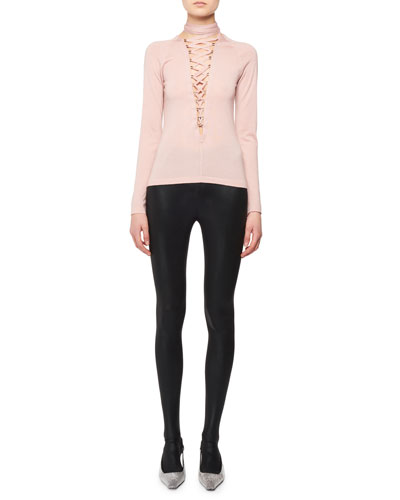 Lace-Up Long-Sleeve Cashmere-Silk Knit Top and Matching Items