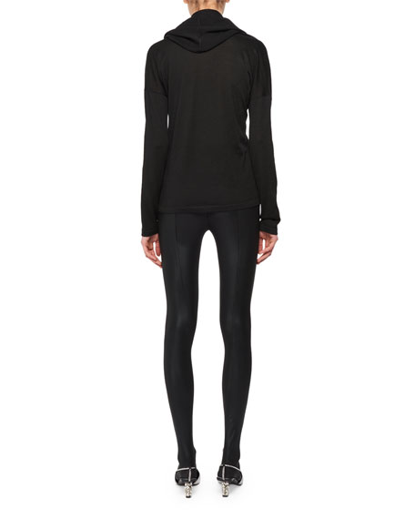 Draped Neckline Long-Sleeve Cashmere-Silk Knit Sweater