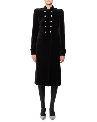Double-Breasted Stand-Collar Velvet Military Coat  and Matching Items