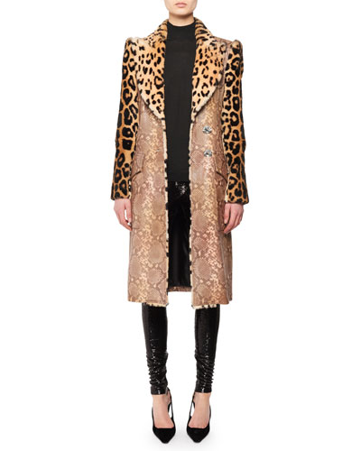 Strong-Shoulder Jaguar & Cheetah Patch Rabbit-Fur Coat  and Matching Items