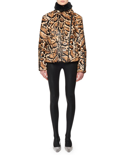 High-Collar Two-Pocket Ocelot-Print Fur Puffer Coat and Matching Items