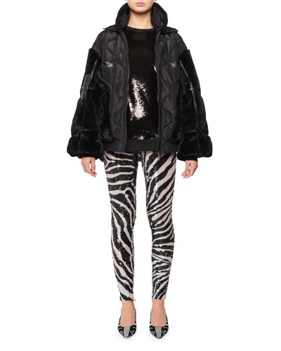 Zip-Front Patchwork Silk Taffeta Puffer Bomber Jacket w/ Faux-Fur and Matching Items