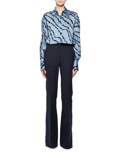 Abstract Animal-Print Shirred-Shoulder Long-Sleeve Shirt and Matching Items