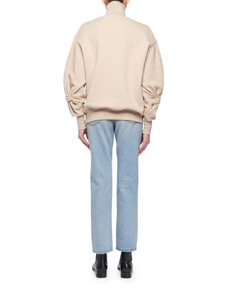 Long-Sleeve Cotton Turtleneck Sweatshirt w/ Band on Lower Arm
