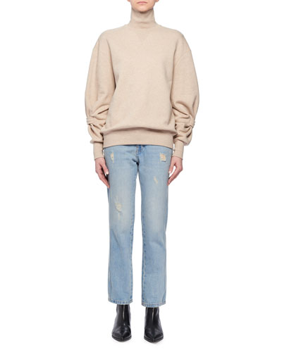 Long-Sleeve Cotton Turtleneck Sweatshirt w/ Band on Lower Arm and Matching Items