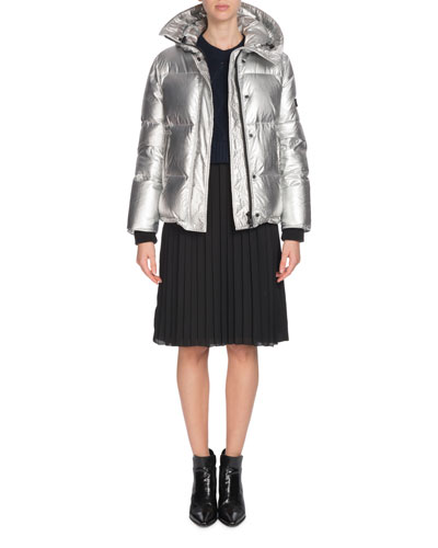 Hooded Metallic Down Puffer Jacket and Matching Items