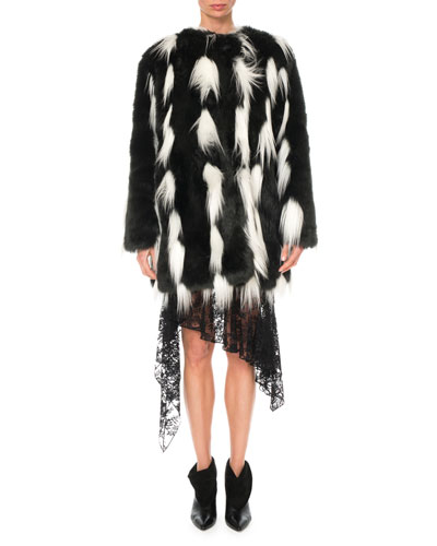 Monochrome Faux-Fur Coat and Matching Items