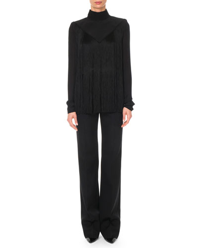 Long-Sleeve Mock-Neck Fringe Silk Blouse and Matching Items