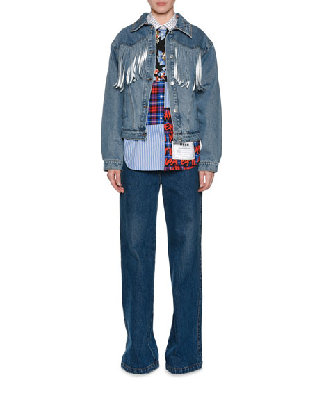 Button-Front Denim Jacket w/ Fringe