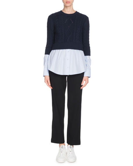 Mixed-Knit Long-Sleeve Top