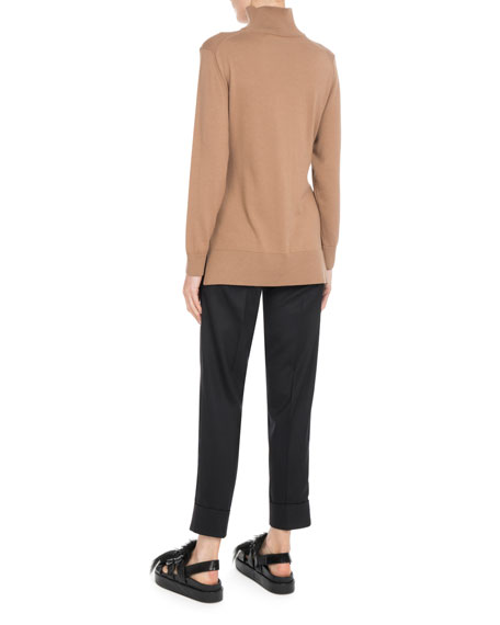 Mock-Neck Side-Slit Knit Tunic w/ Tie-Waist