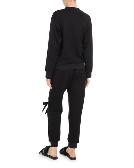Crewneck Cashmere Knit Patchwork Beaded Sweater
