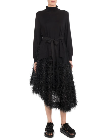 Mock-Neck Side-Slit Knit Tunic w/ Tie-Waist
