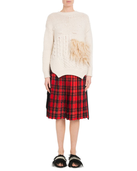 Round-Neck Alpaca-Blend Cable-Knit Sweater w/ Faux-Fur Patch